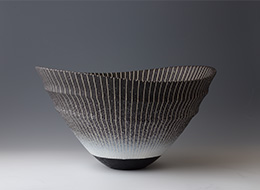 彩陶象嵌鉢「夜の海」