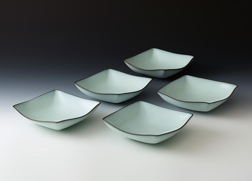 中野月白瓷四方組鉢